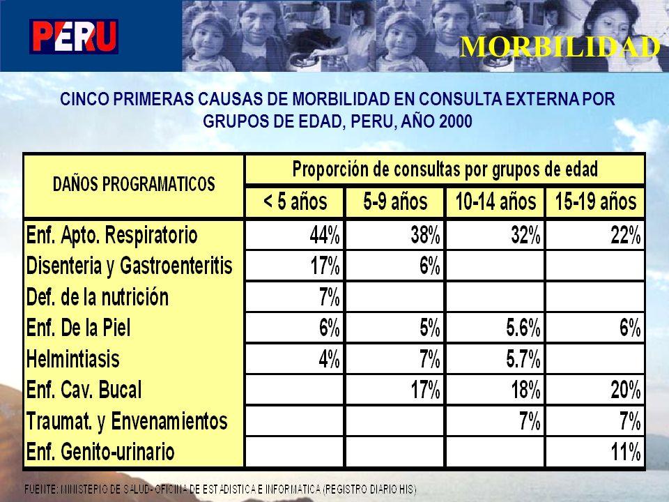 MORBILIDAD CINCO PRIMERAS CAUSAS DE MORBILIDAD EN CONSULTA EXTERNA POR GRUPOS DE EDAD, PERU, AÑO 2000.