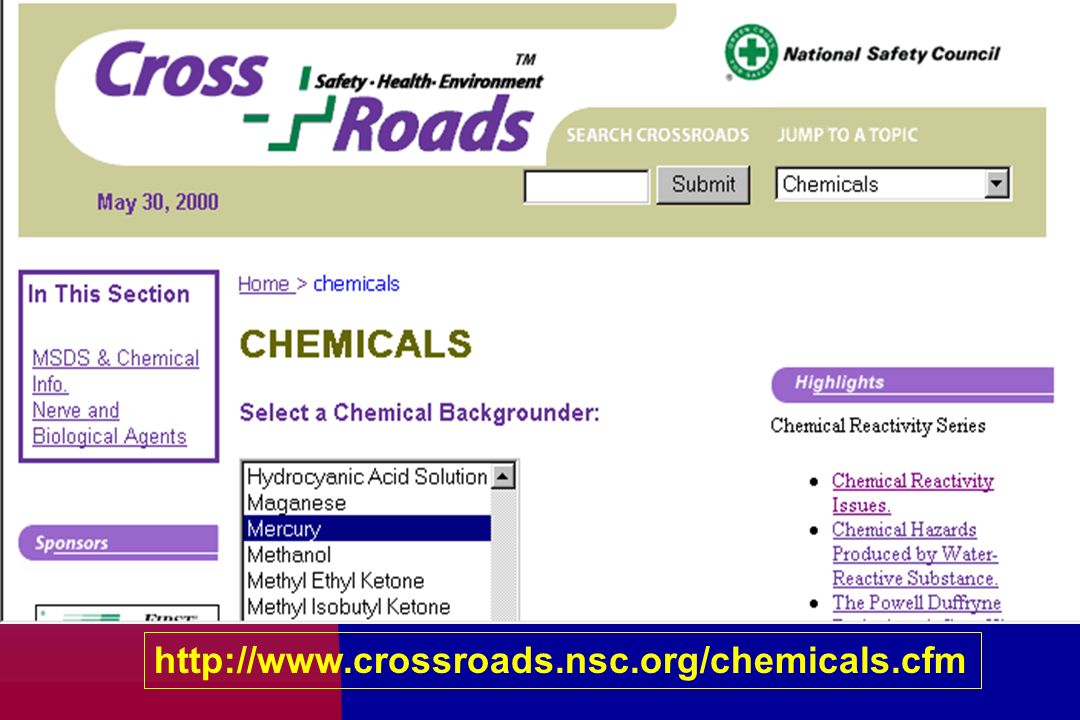 http://www.crossroads.nsc.org/chemicals.cfm