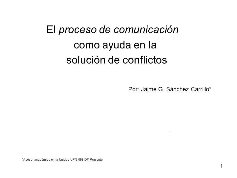 El proceso de comunicación como ayuda en la solución de conflictos