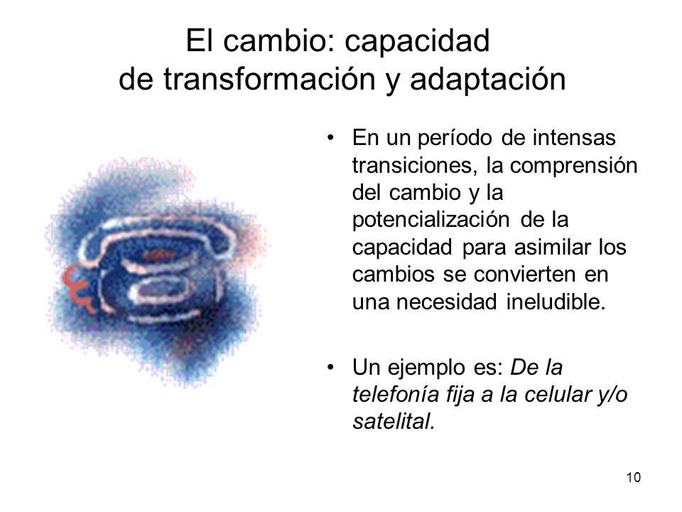 El cambio: capacidad de transformación y adaptación