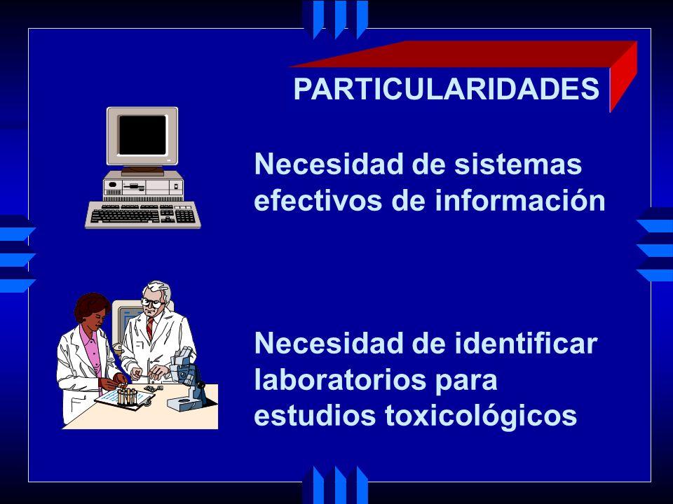 PARTICULARIDADES Necesidad de sistemas. efectivos de información. Necesidad de identificar. laboratorios para.