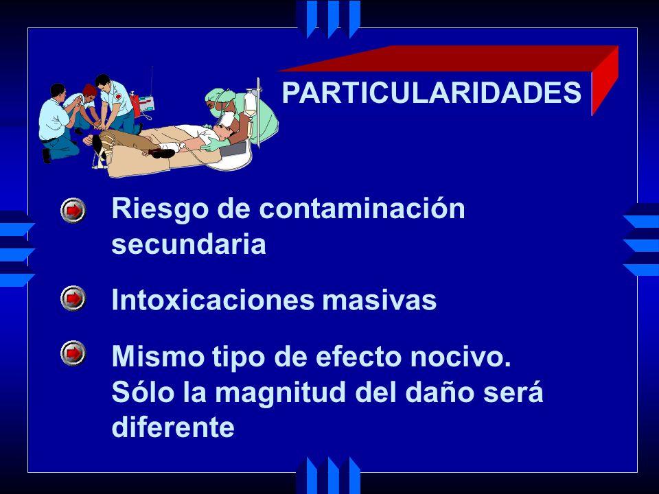 PARTICULARIDADES Riesgo de contaminación. secundaria. Intoxicaciones masivas. Mismo tipo de efecto nocivo.