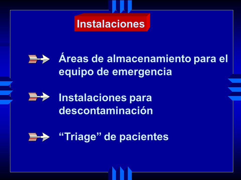 Instalaciones Áreas de almacenamiento para el. equipo de emergencia. Instalaciones para. descontaminación.