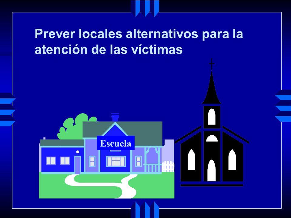 Prever locales alternativos para la atención de las víctimas