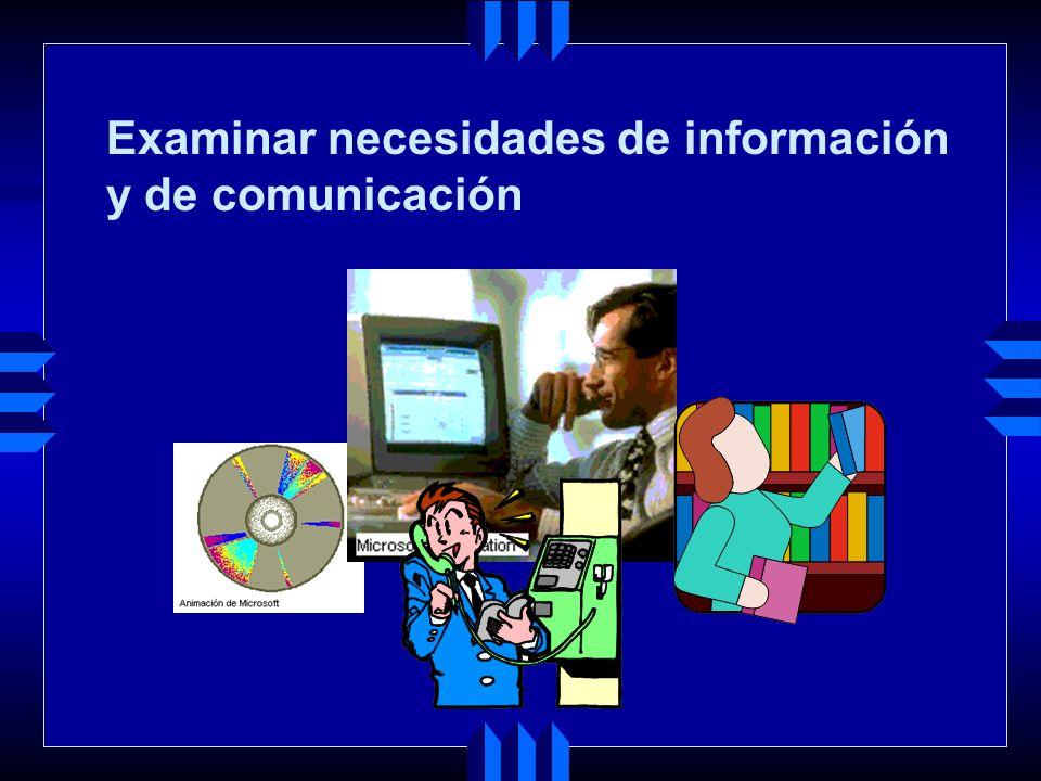Examinar necesidades de información y de comunicación