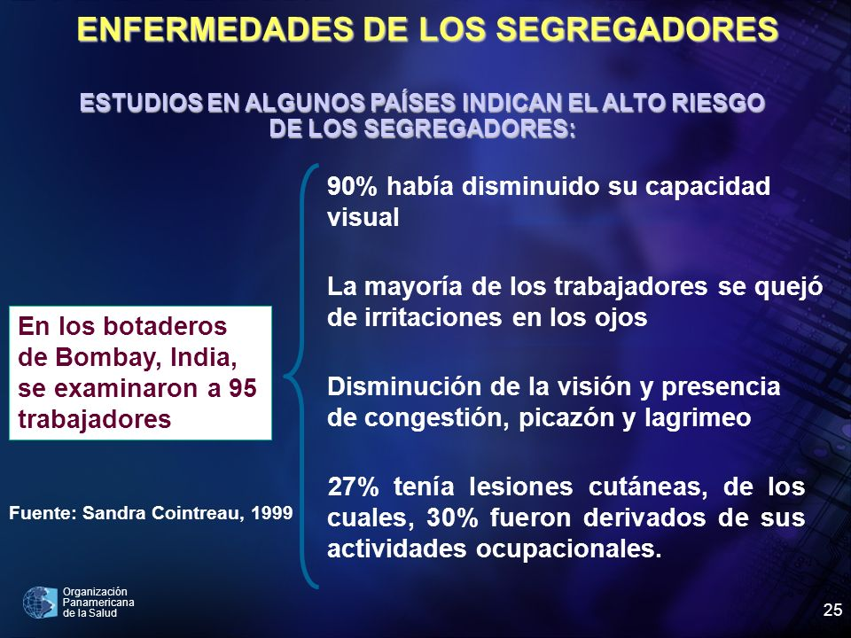 ENFERMEDADES DE LOS SEGREGADORES