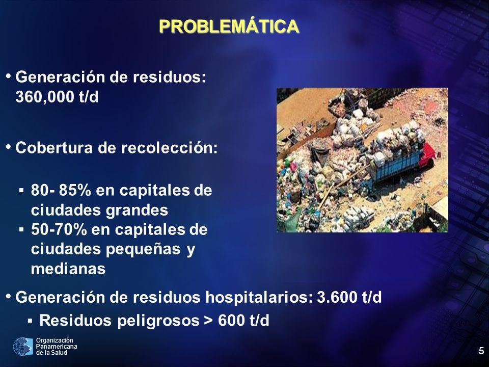 PROBLEMÁTICA Generación de residuos: 360,000 t/d