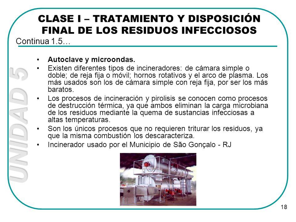 CLASE I – TRATAMIENTO Y DISPOSICIÓN FINAL DE LOS RESIDUOS INFECCIOSOS