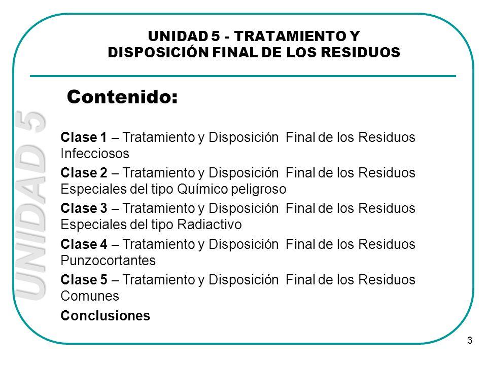 UNIDAD 5 - TRATAMIENTO Y DISPOSICIÓN FINAL DE LOS RESIDUOS