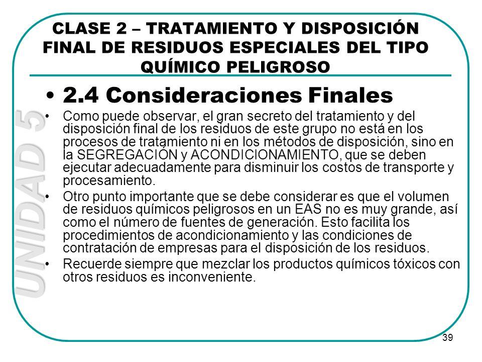 2.4 Consideraciones Finales