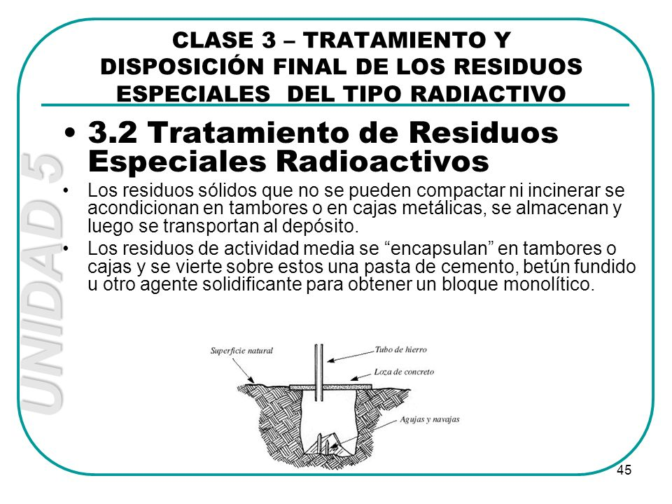 3.2 Tratamiento de Residuos Especiales Radioactivos
