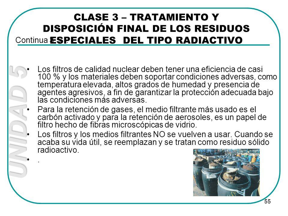 CLASE 3 – TRATAMIENTO Y DISPOSICIÓN FINAL DE LOS RESIDUOS ESPECIALES DEL TIPO RADIACTIVO