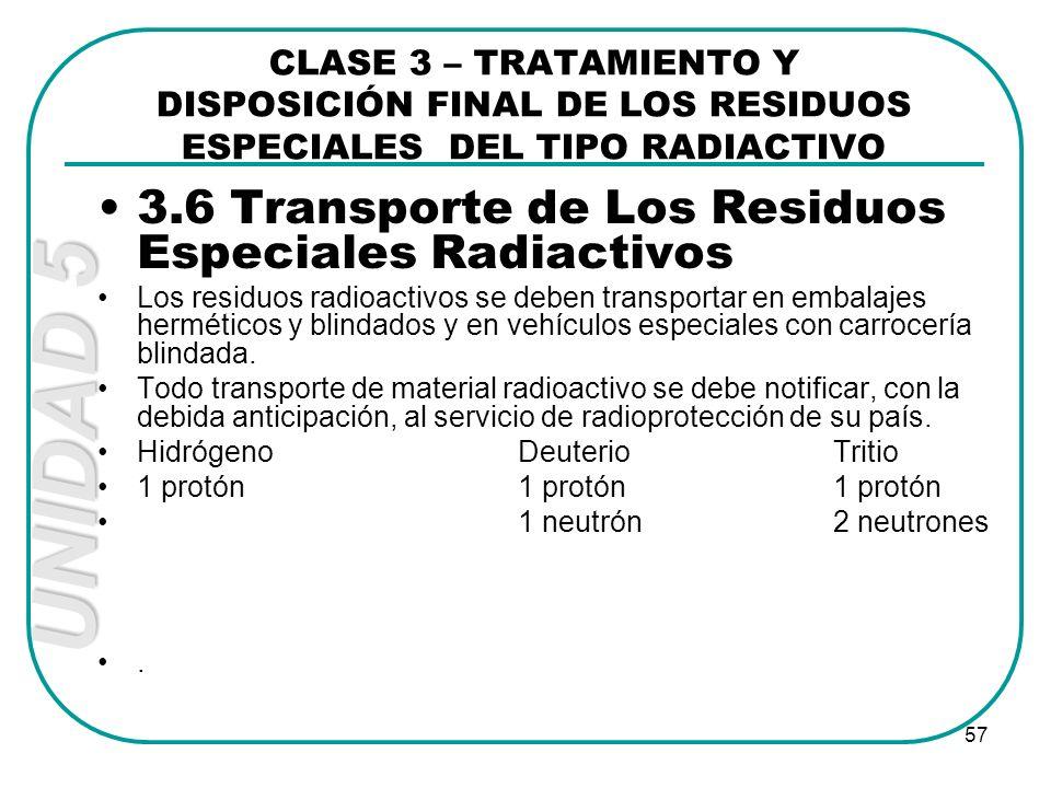 3.6 Transporte de Los Residuos Especiales Radiactivos