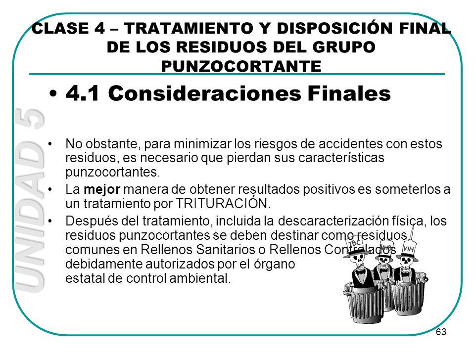 4.1 Consideraciones Finales