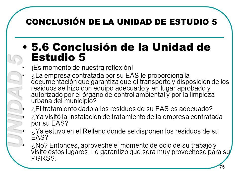 CONCLUSIÓN DE LA UNIDAD DE ESTUDIO 5