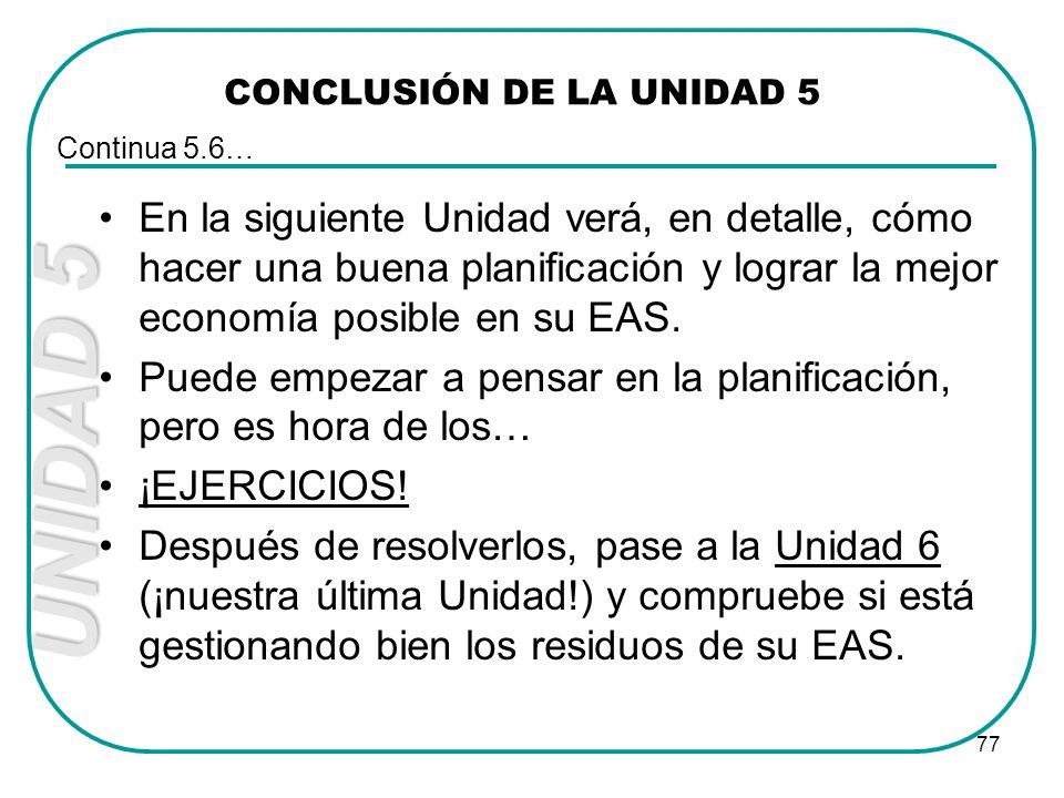 CONCLUSIÓN DE LA UNIDAD 5
