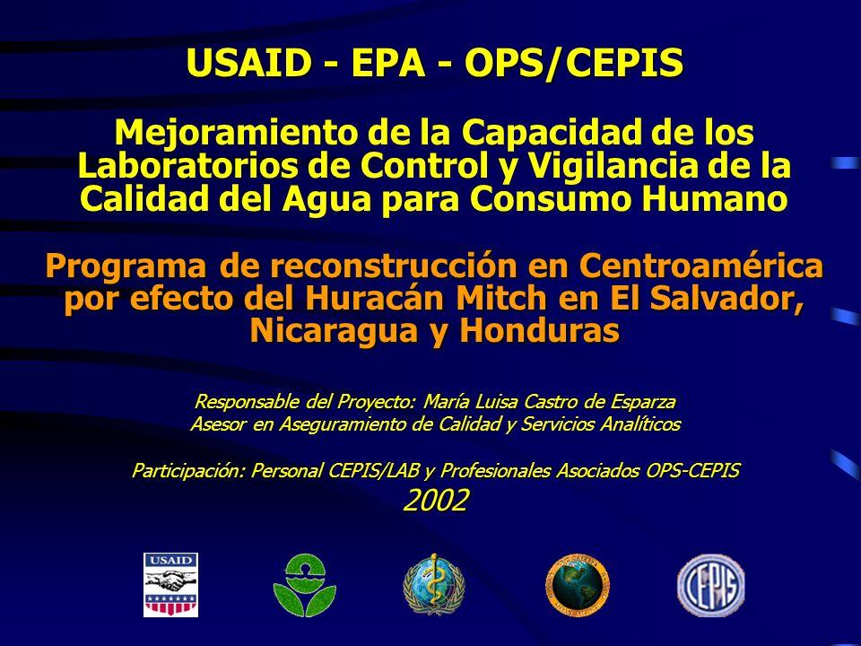 USAID - EPA - OPS/CEPISMejoramiento de la Capacidad de los Laboratorios de Control y Vigilancia de la Calidad del Agua para Consumo Humano.