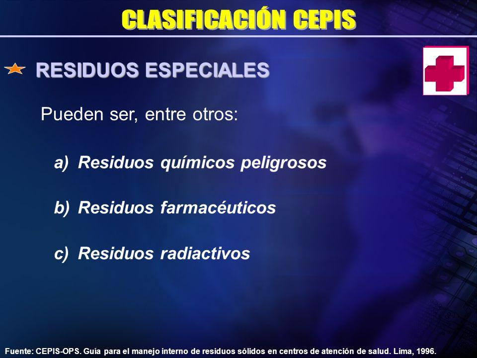RESIDUOS ESPECIALES CLASIFICACIÓN CEPIS Pueden ser, entre otros: