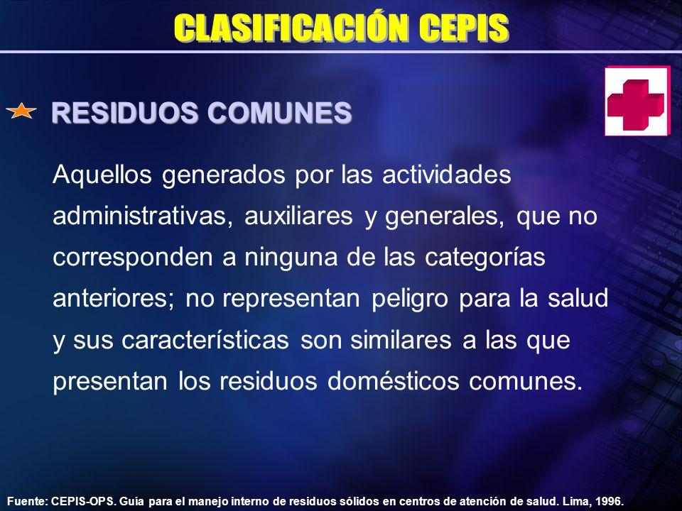 RESIDUOS COMUNES CLASIFICACIÓN CEPIS