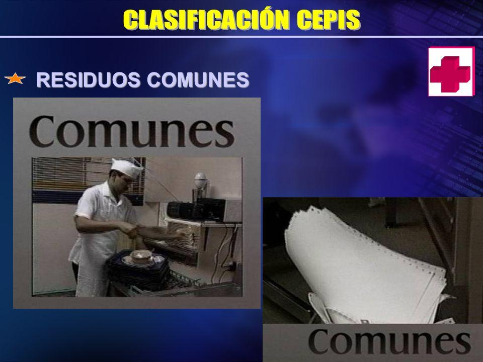 CLASIFICACIÓN CEPIS RESIDUOS COMUNES