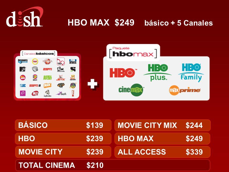 HBO MAX $249 básico + 5 Canales
