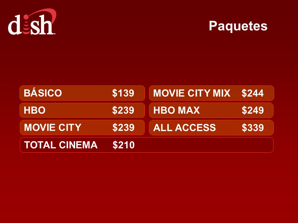 Paquetes BÁSICO $139 MOVIE CITY MIX $244 HBO $239 HBO MAX $249