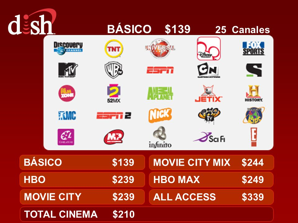 BÁSICO $139 25 Canales BÁSICO $139 MOVIE CITY MIX $244 HBO $239