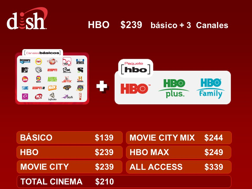 HBO $239 básico + 3 Canales BÁSICO $139 MOVIE CITY MIX $244 HBO $239