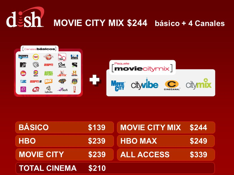 MOVIE CITY MIX $244 básico + 4 Canales