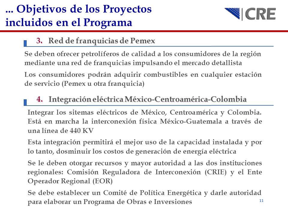 ... Objetivos de los Proyectos incluidos en el Programa