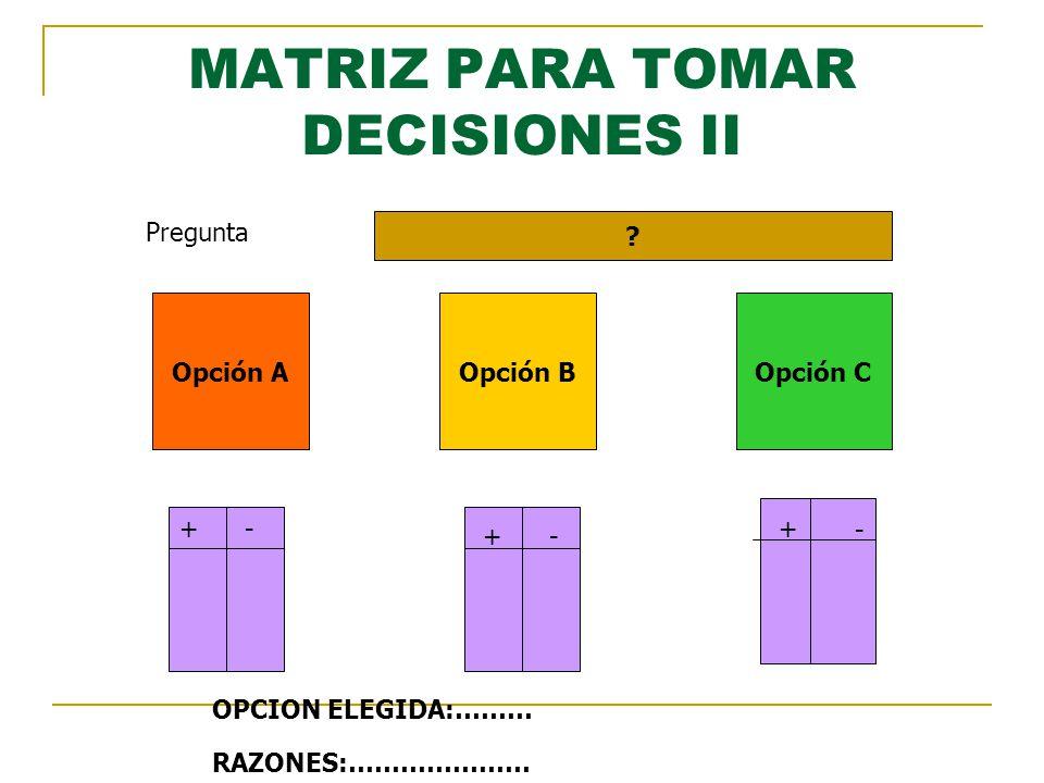 MATRIZ PARA TOMAR DECISIONES II