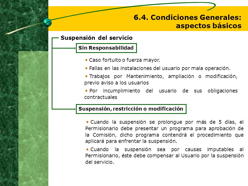 6.4. Condiciones Generales: aspectos básicos