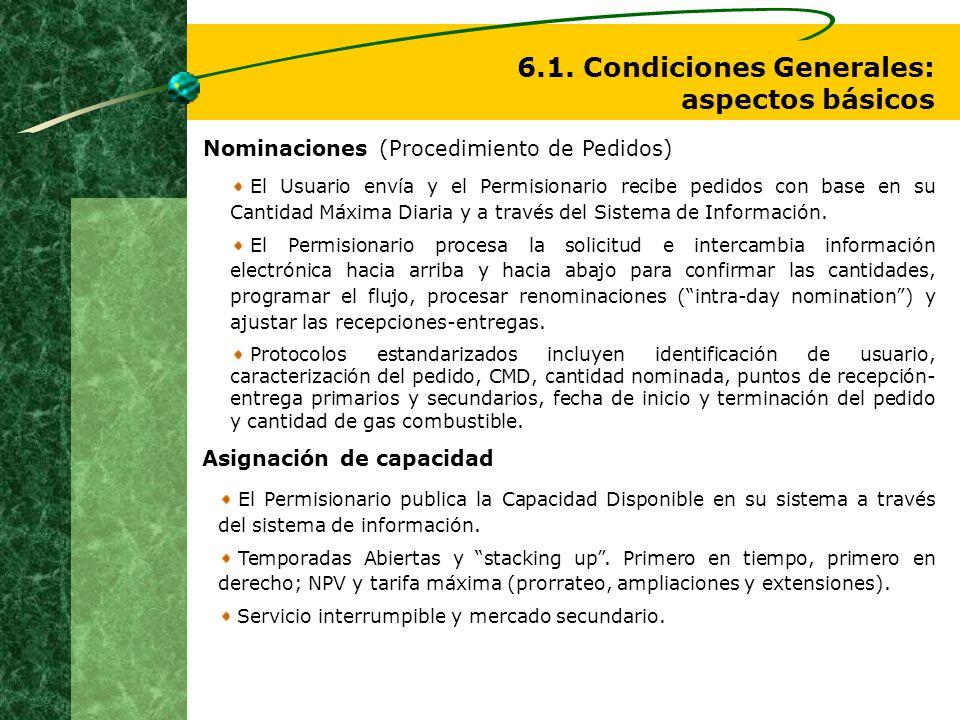 6.1. Condiciones Generales: aspectos básicos