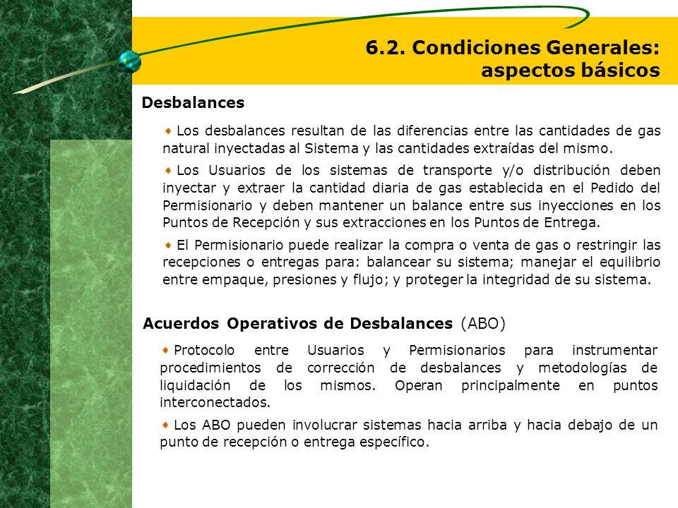 6.2. Condiciones Generales: aspectos básicos