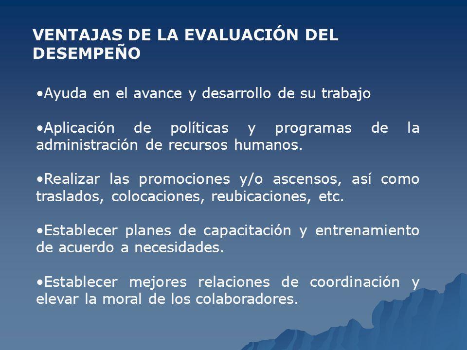 VENTAJAS DE LA EVALUACIÓN DEL DESEMPEÑO