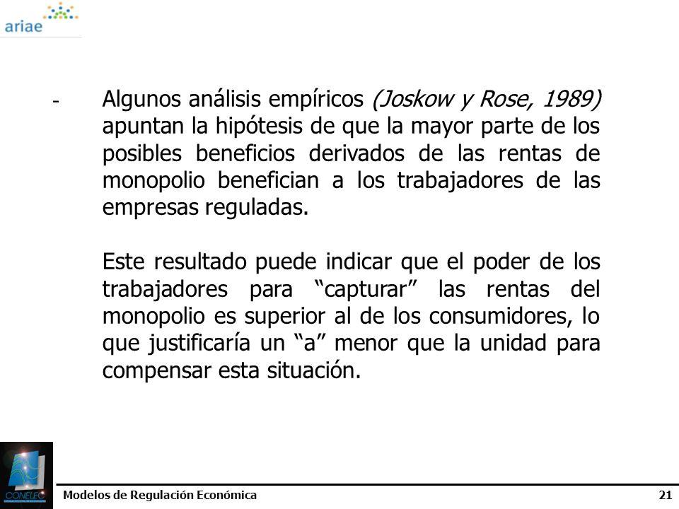 Algunos análisis empíricos (Joskow y Rose, 1989)