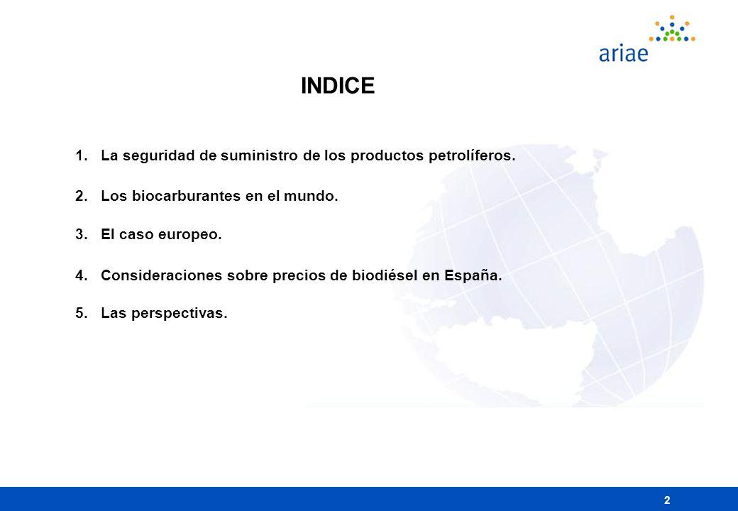 INDICE La seguridad de suministro de los productos petrolíferos.
