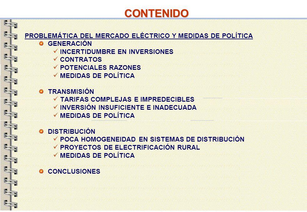 CONTENIDO PROBLEMÁTICA DEL MERCADO ELÉCTRICO Y MEDIDAS DE POLÍTICA