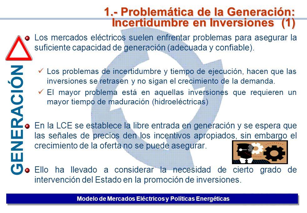 1.- Problemática de la Generación: Incertidumbre en Inversiones (1)