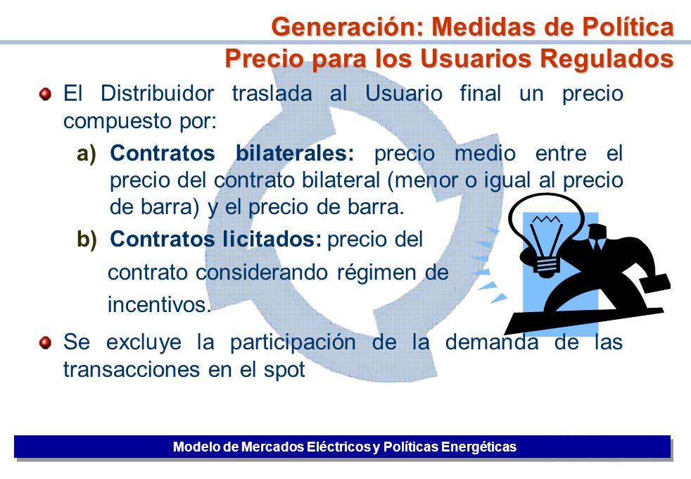 Generación: Medidas de Política Precio para los Usuarios Regulados