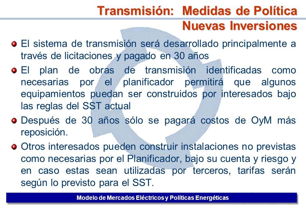 Transmisión: Medidas de Política Nuevas Inversiones