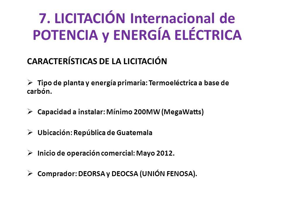 7. LICITACIÓN Internacional de POTENCIA y ENERGÍA ELÉCTRICA