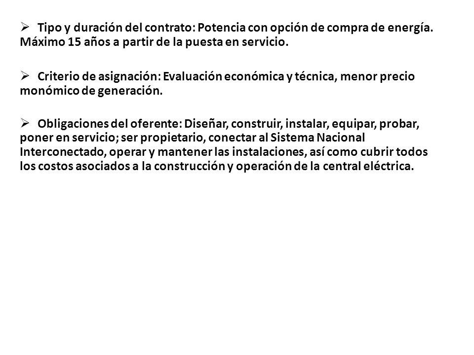 Tipo y duración del contrato: Potencia con opción de compra de energía