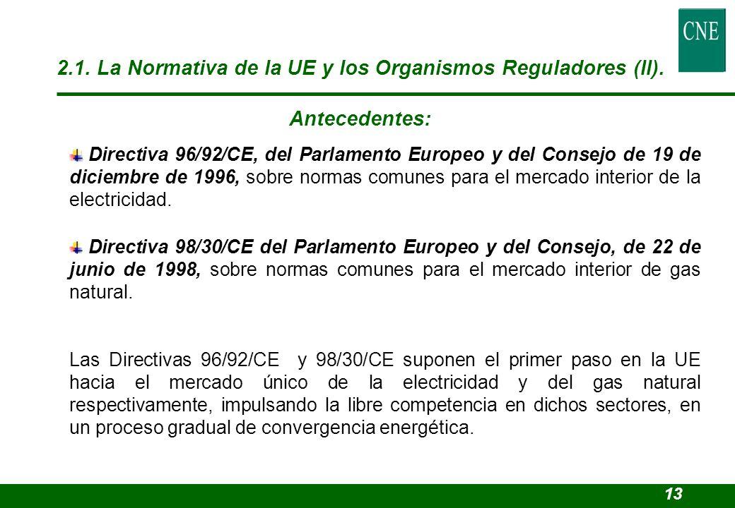 2.1. La Normativa de la UE y los Organismos Reguladores (II).