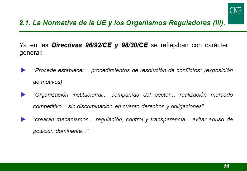 2.1. La Normativa de la UE y los Organismos Reguladores (III).