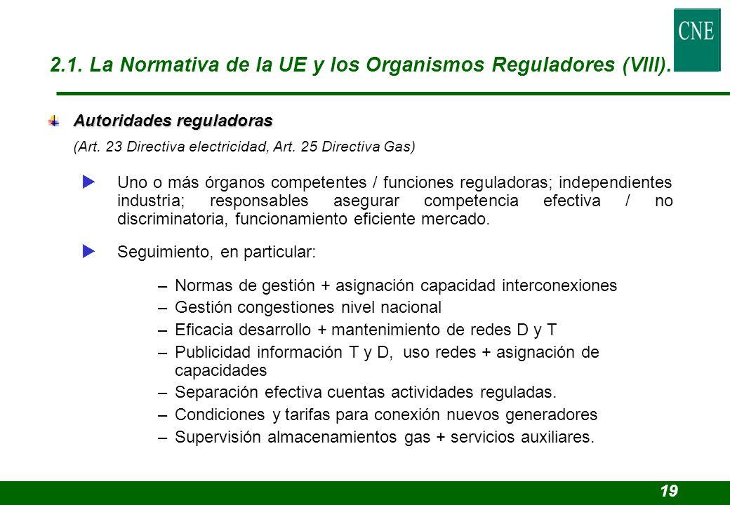 2.1. La Normativa de la UE y los Organismos Reguladores (VIII).