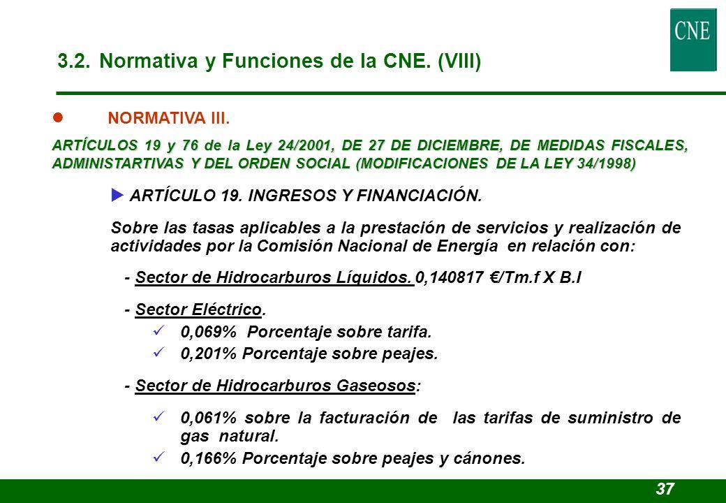3.2. Normativa y Funciones de la CNE. (VIII)