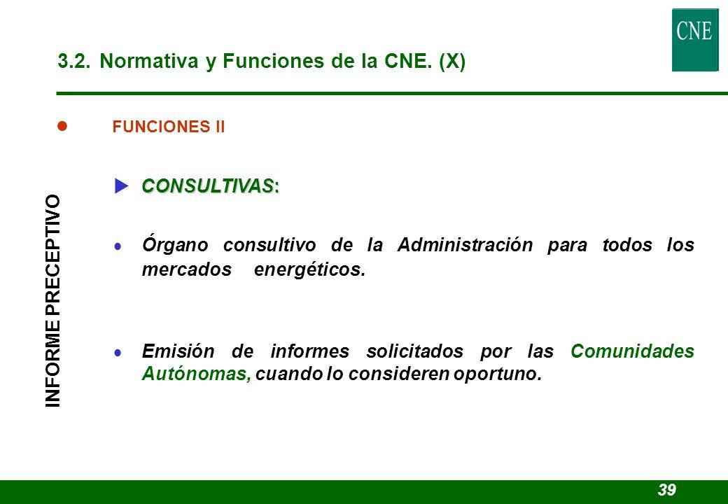 3.2. Normativa y Funciones de la CNE. (X)