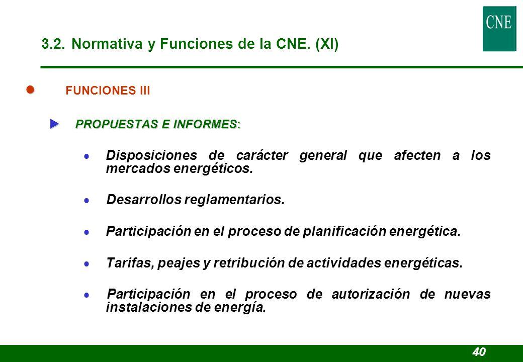 3.2. Normativa y Funciones de la CNE. (XI)