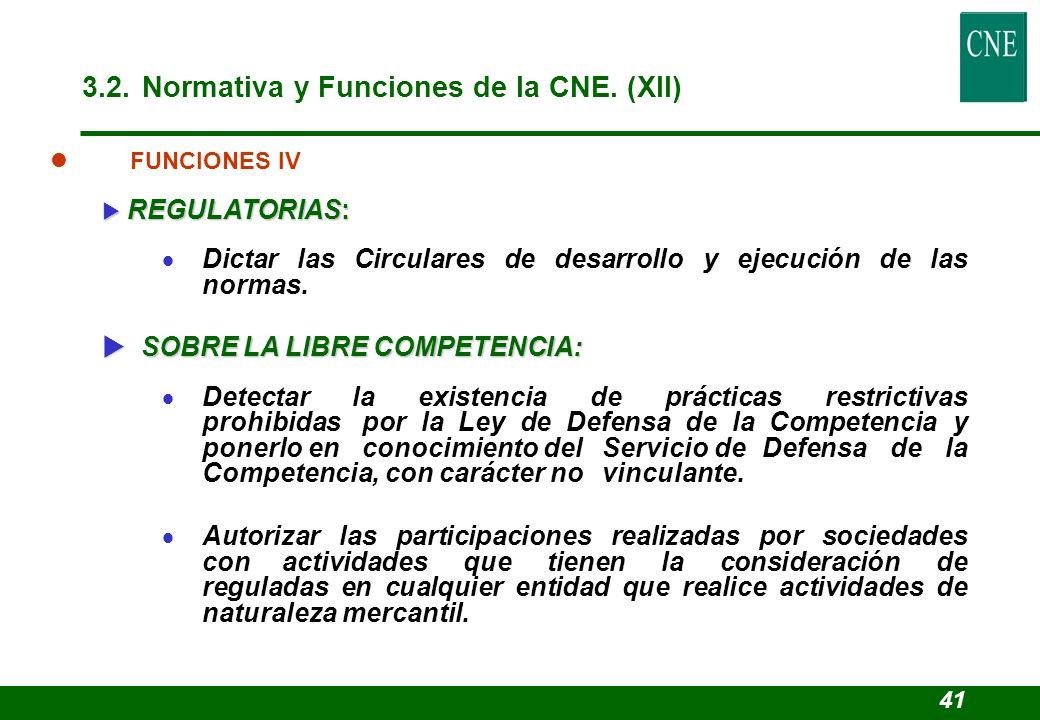 3.2. Normativa y Funciones de la CNE. (XII)